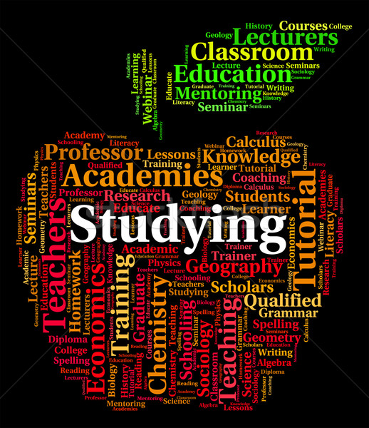 Studying Word Represents Words Educated And Tutoring Stock photo © stuartmiles