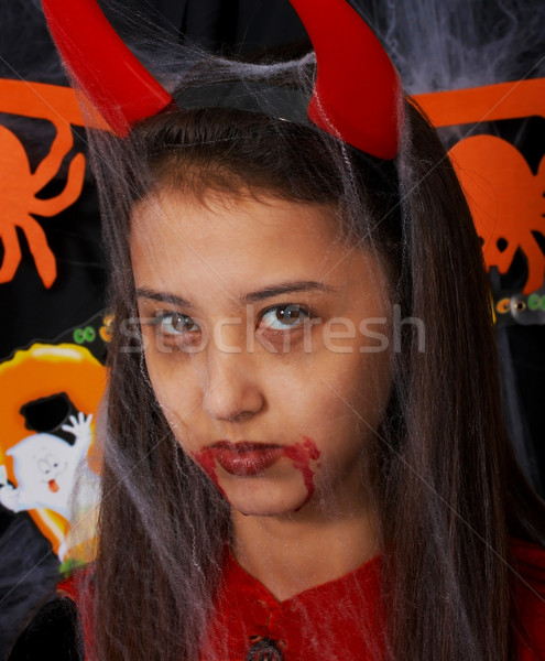 Stock photo: Girl Dressed Up As A Devil