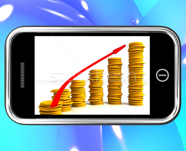 Money Increasing On Smartphone Showing Big Earnings Stock photo © stuartmiles
