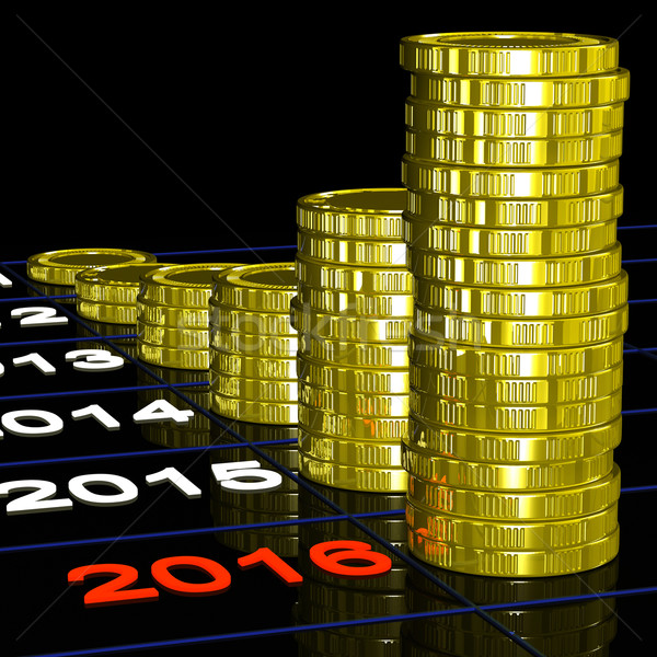 Coins On 2016 Shows Finance Forecasting Stock photo © stuartmiles