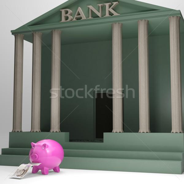 Piggybank Leaving Bank Shows Money Withdrawal Stock photo © stuartmiles