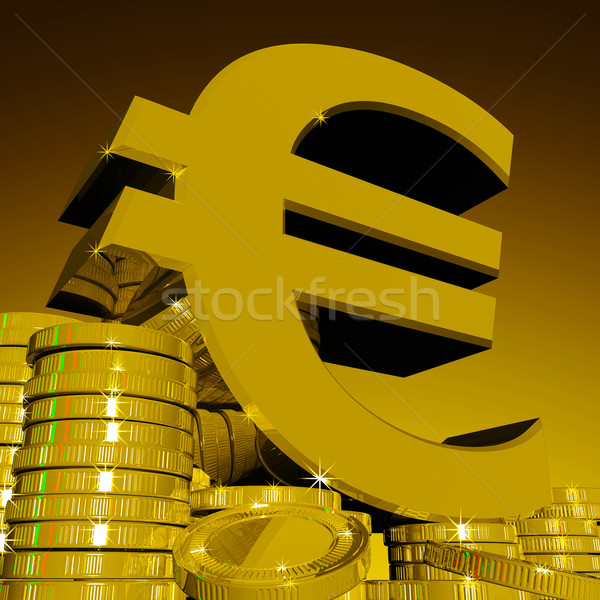 Euro Symbol On Coins Showing European Wealth Stock photo © stuartmiles