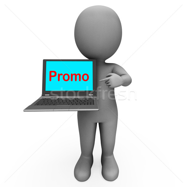 Promo Character Computer Shows Promotion Discounting And Reducti Stock photo © stuartmiles