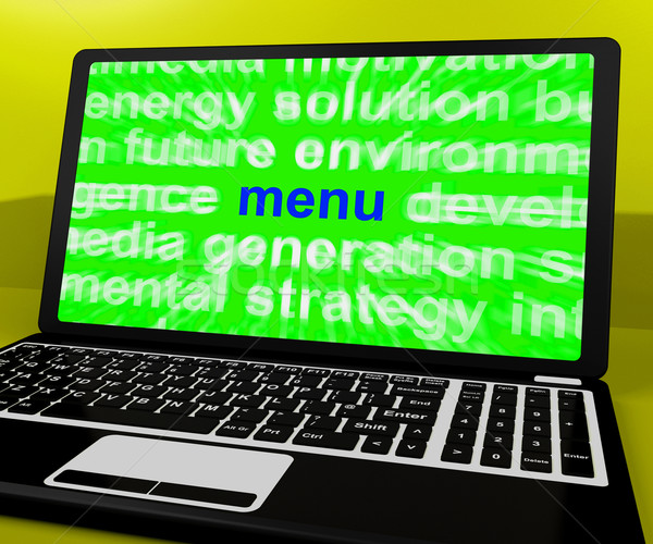 Menu Laptop Shows Internet Ordering Food From Restaurant Stock photo © stuartmiles