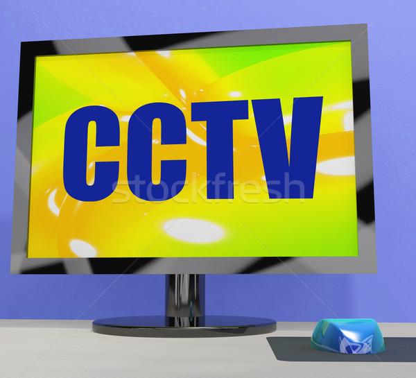 Cctv monitor biztonság védelem ellenőrzés mutat Stock fotó © stuartmiles