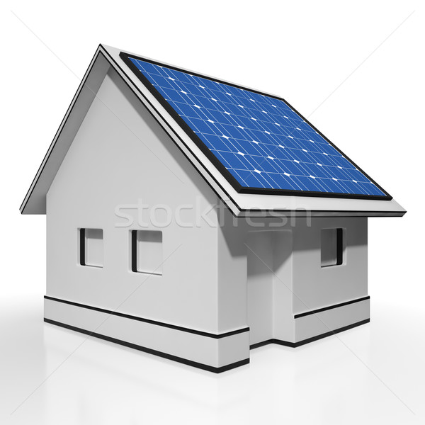 Stock photo: House With Solar Panels Shows Sun Electricity