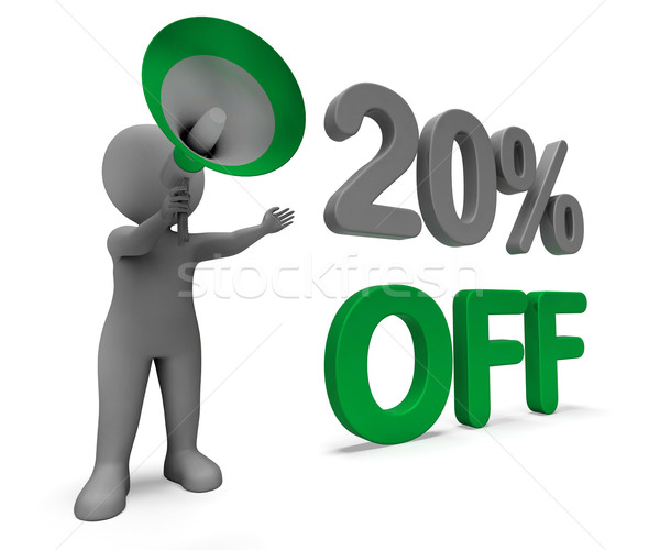 Twenty Percent Off Character Means Discounted Offer Or Sale 20% Stock photo © stuartmiles