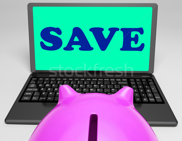 Save Laptop Means Online Savings And Promos Stock photo © stuartmiles