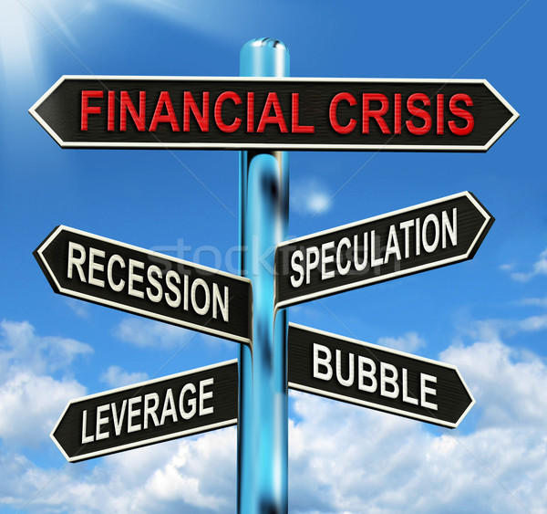 Financial Crisis Signpost Shows Recession Speculation Leverage A Stock photo © stuartmiles