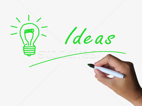 Ideas and Lightbulb Indicate Bright Idea and Concepts Stock photo © stuartmiles