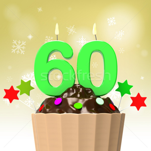 Sixty Candle On Cupcake Shows Family Reunion Or Celebration Stock photo © stuartmiles