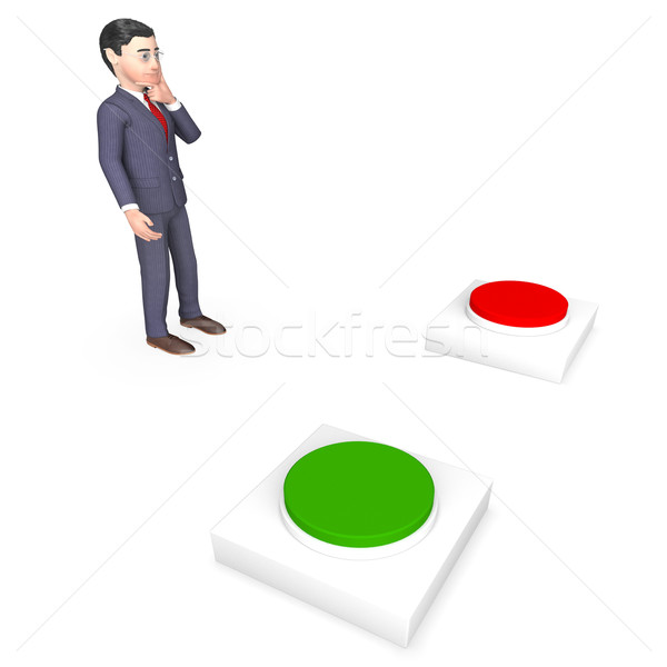 Businessman With Buttons Represents Choice Tailor And Route Stock photo © stuartmiles