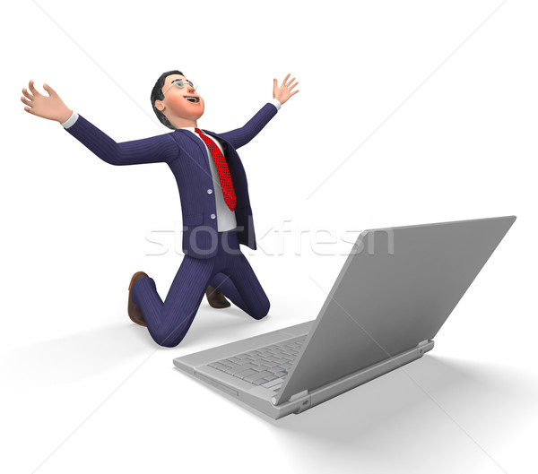 Businessman Overwhelmed Indicates Resolution Happy And Overawed Stock photo © stuartmiles