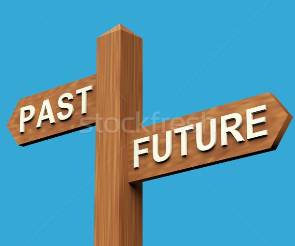 Passato futuro indicazioni cartello legno strada Foto d'archivio © stuartmiles