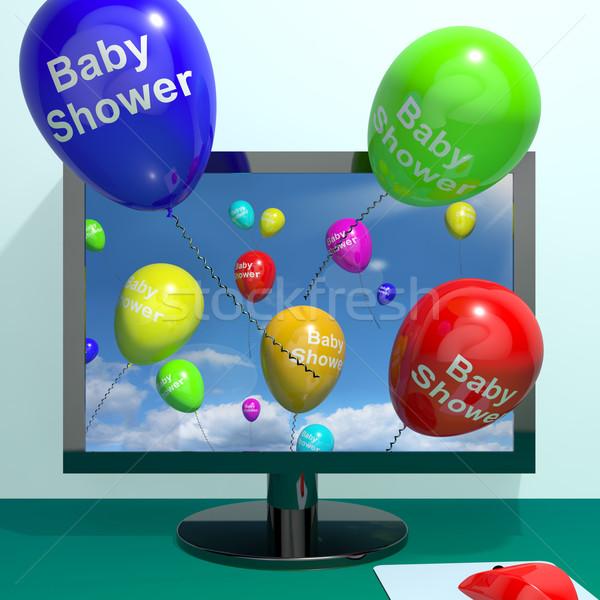 Baba zuhany léggömbök számítógép születés buli meghívó Stock fotó © stuartmiles
