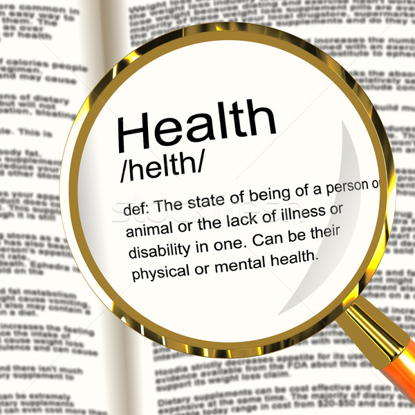 Health Definition Magnifier Showing Wellbeing Fit Condition Or H Stock photo © stuartmiles