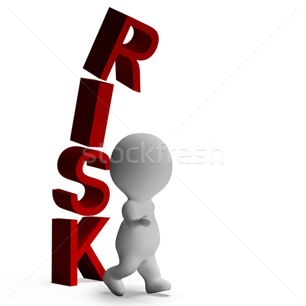 Risk And 3d Character Showing Peril And Caution Stock photo © stuartmiles