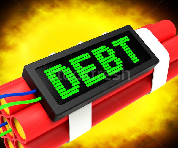 Schuld woord dynamiet faillissement armoede tonen Stockfoto © stuartmiles