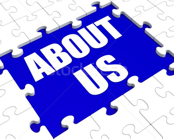 Over ons puzzel bedrijf profiel informatie tonen Stockfoto © stuartmiles