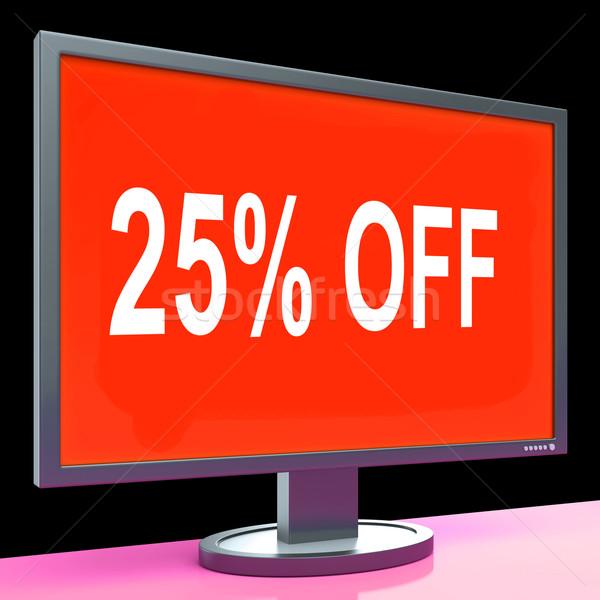Twenty Five Percent Off Monitor Means Discount Or Sale Online Stock photo © stuartmiles