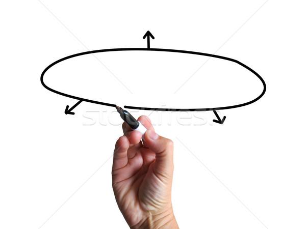 Copy Space Diagram Shows Business Plan Arrows Sketch Stock photo © stuartmiles