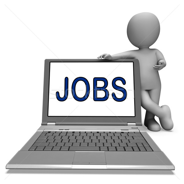 Jobs On Laptop Shows Profession Employment Or Hiring Online Stock photo © stuartmiles