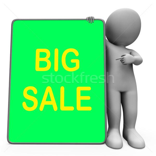 Nagy vásár tabletta karakter promóciós megtakarított pénz Stock fotó © stuartmiles
