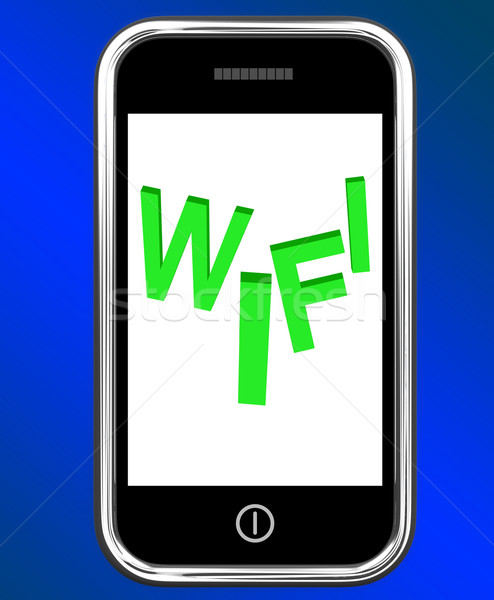 Wifi On Phone Shows Internet Hotspot Wi-fi Access Or Connection Stock photo © stuartmiles