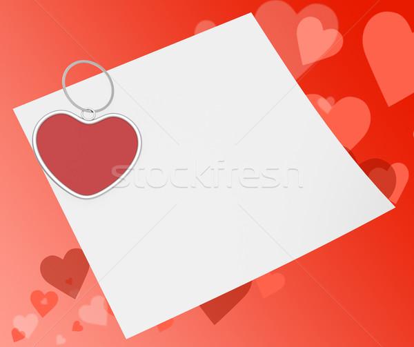 Szív gemkapocs jegyzet vonzalom szeretet üzenet Stock fotó © stuartmiles