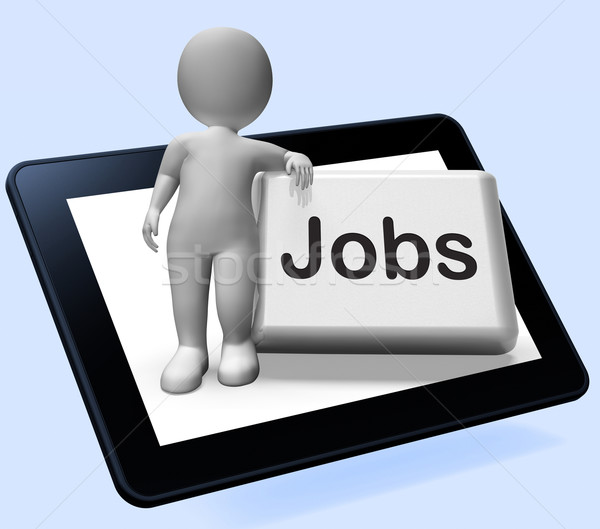 Jobs Button With Character Tablet Shows Hiring Recruitment Onlin Stock photo © stuartmiles