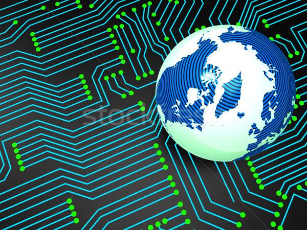 Circuit board wereldwijd elektronica wereldbol Stockfoto © stuartmiles