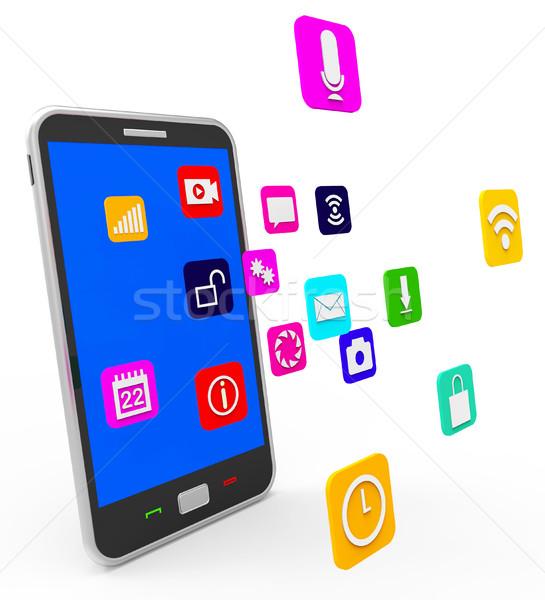 Social Media Phone Indicates News Feed And Blogging Stock photo © stuartmiles