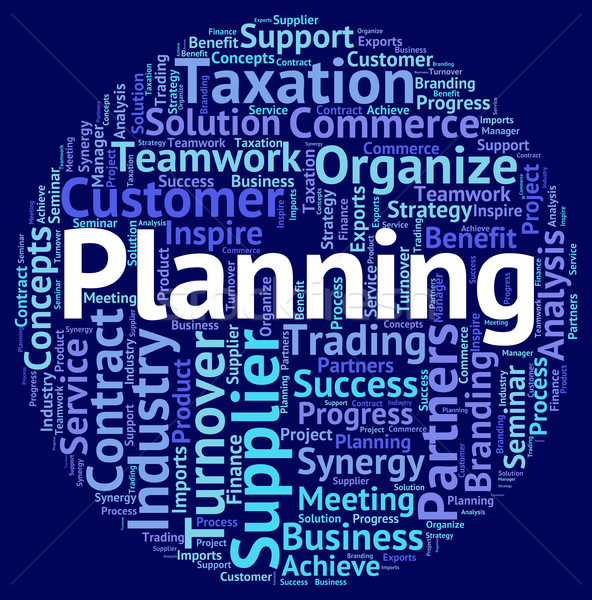 Planning Word Means Wordcloud Target And Objectives Stock photo © stuartmiles