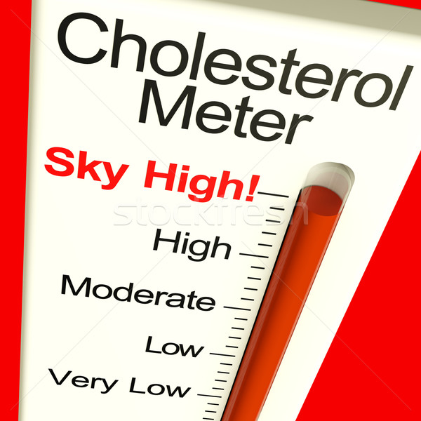 Stock photo: Cholesterol Meter High Showing Unhealthy Fatty Diet