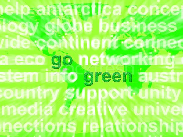 Zöld szavak mutat újrahasznosítás környezetbarát öko Stock fotó © stuartmiles