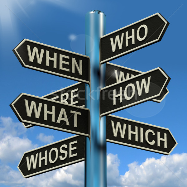 Who What Why When Where Signpost Showing Confusion Brainstorming Stock photo © stuartmiles