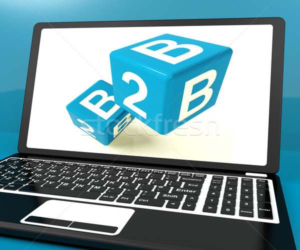 B2b Dice On Laptop Computer Shows Business And Commerce Stock photo © stuartmiles