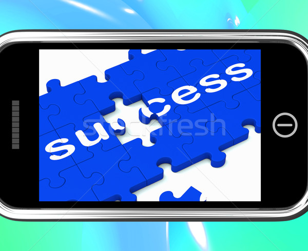 Success On Smartphone Shows Successful Solutions Stock photo © stuartmiles
