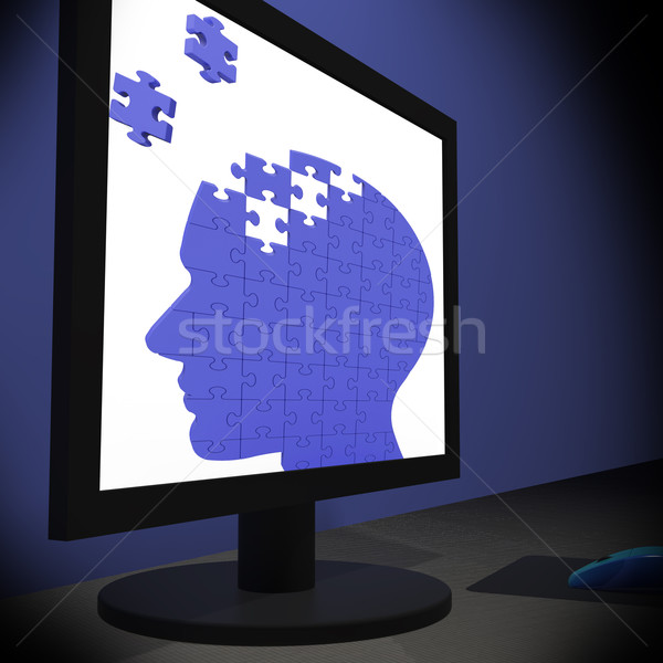 Head Puzzle On Monitor Showing Human Brightness Stock photo © stuartmiles