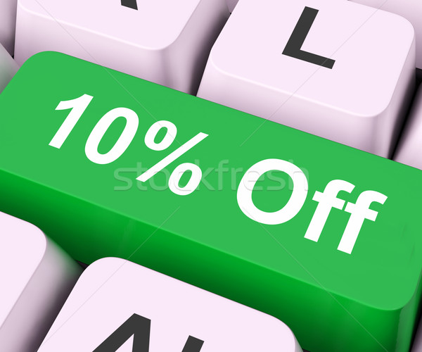 Ten Percent Off Key Means Discount Or Sale