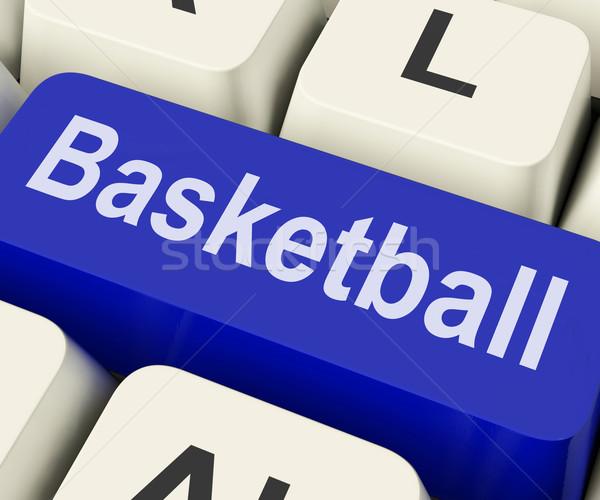 Basketball Key Shows Basket Ball On Internet Or Web Stock photo © stuartmiles