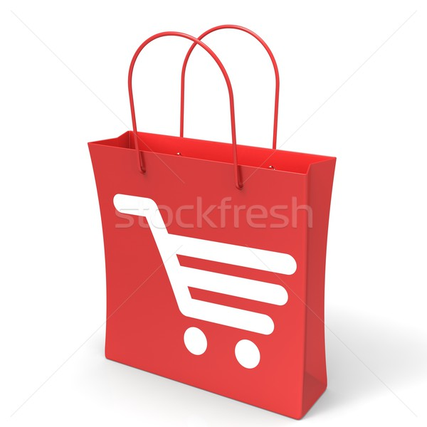 Shopping Cart Bag Showing Basket Checkout Stock photo © stuartmiles