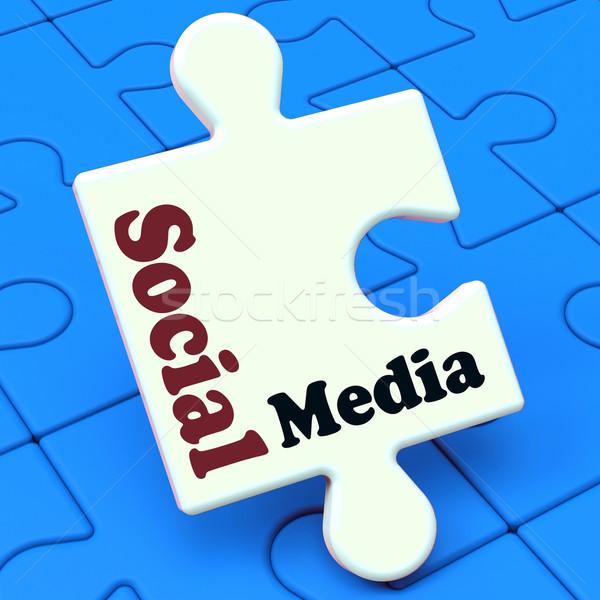 Social media puzzle online społeczności relacja Zdjęcia stock © stuartmiles