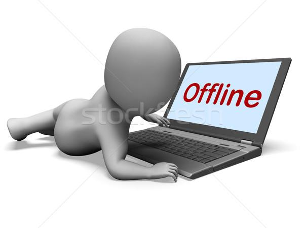 Offline Character Laptop Shows Www Communication Status Disconne Stock photo © stuartmiles