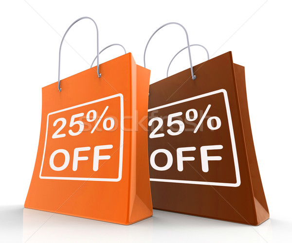 Twenty-Five Percent Off On Shopping Bags Shows 25 Bargains Stock photo © stuartmiles