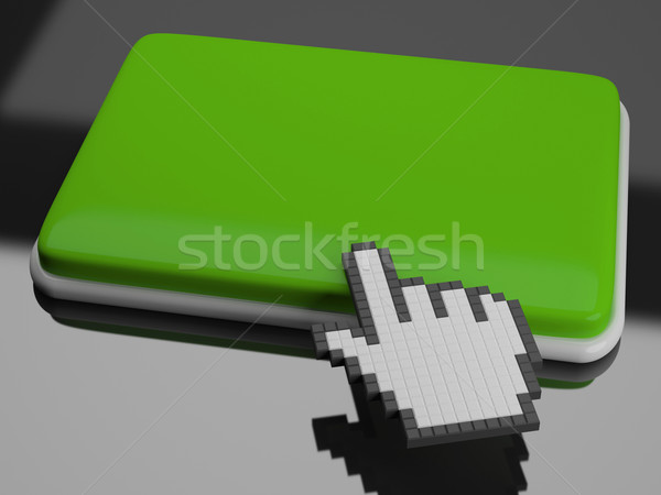 Cursor Hand On Key Background Shows Blank Copyspace Click Here Stock photo © stuartmiles