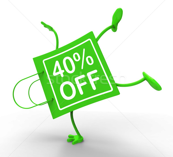 Handstand Shopping Bag Forty Percent Off Shows 40 Reduction Stock photo © stuartmiles