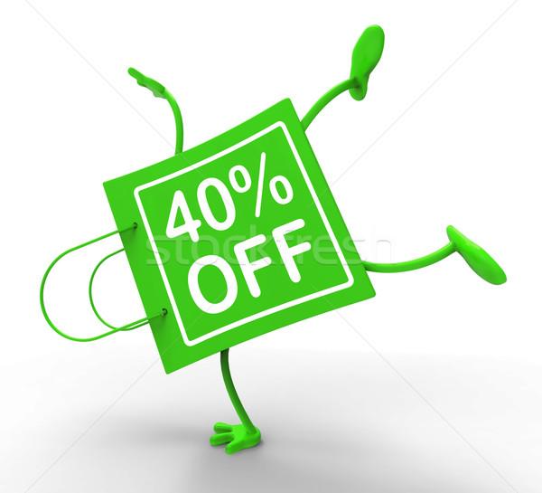Handstand torbę na zakupy czterdzieści procent 40 Zdjęcia stock © stuartmiles
