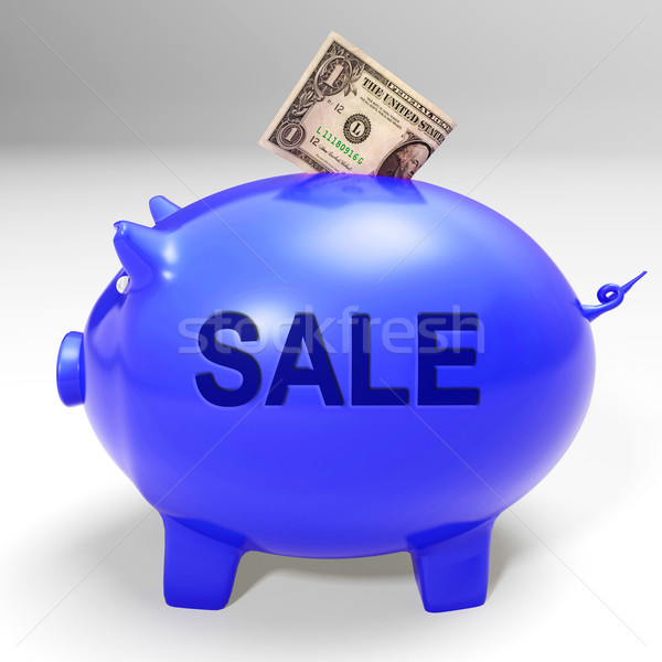 Sale Piggy Bank Shows Price Cut And Discounted Products Stock photo © stuartmiles