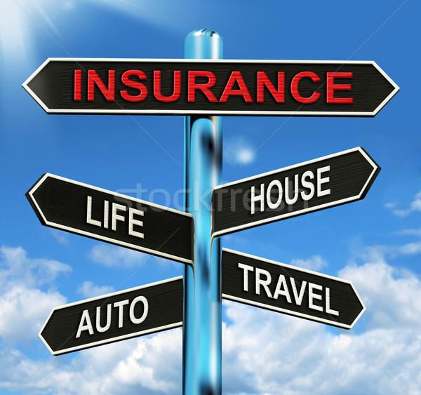 Сток-фото: страхования · указатель · жизни · дома · Auto · путешествия